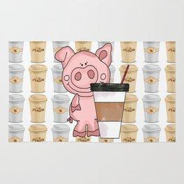 Mr Pig Loves His Coffee Rug