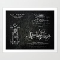 Early 1900s Design for a Hybrid Vehicle Patent Art Print