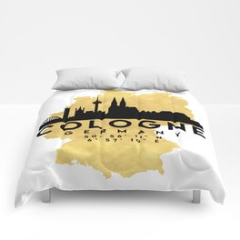 COLOGNE GERMANY SILHOUETTE SKYLINE MAP ART Comforters
