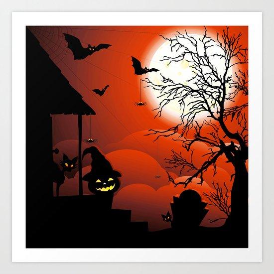 Halloween on Bloody Moonlight Nightmare Art Print