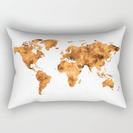 World Map in Orange Desert Sand Rectangular Pillow