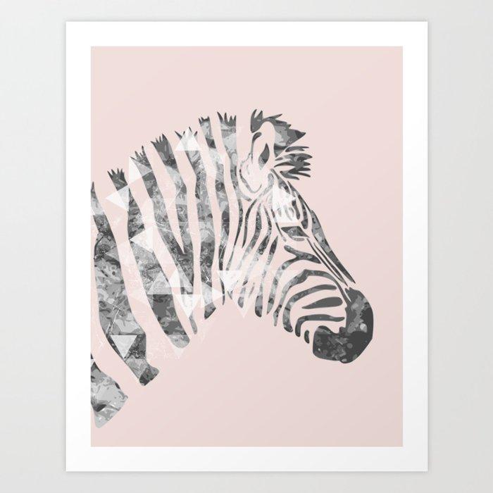 Black and pink zebra Art Print