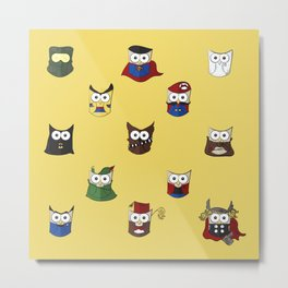 Nerd Boy (Owls) - Yellow Metal Print