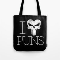punisher Tote Bags featuring PUNisher by Jason St. Peter