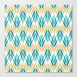 Mid Century Modern Abstract Floral Pattern in Turquoise Teal Aqua and Marigold Canvas Print