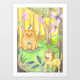 Magical Forest and the King Cat Art Print