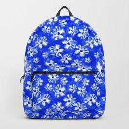 Blue Tropical Flower Pattern Backpack