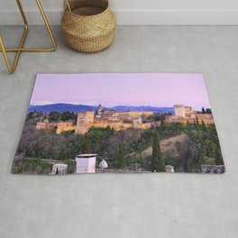 La Alhambra, Sierra Nevada and Granada. At pink sunset Rug