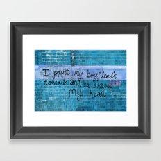 Toenails in blue Framed Art Print