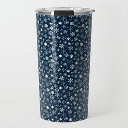 Blue & White Christmas Snowflakes Travel Mug