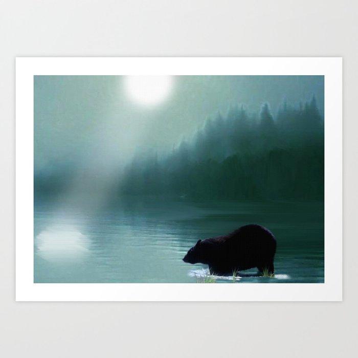 Stepping Into The Moonlight - Black Bear and Moonlit Lake Art Print
