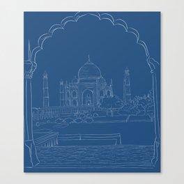Blue Taj Mahal Drawing Canvas Print