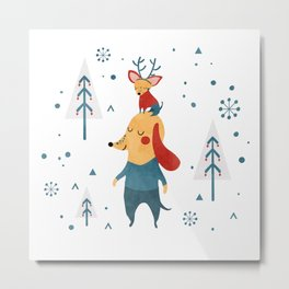 Merry Christmas card Metal Print