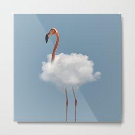 Flamingo in cloud Metal Print