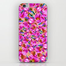 Abstract sewn pink flowers iPhone & iPod Skin
