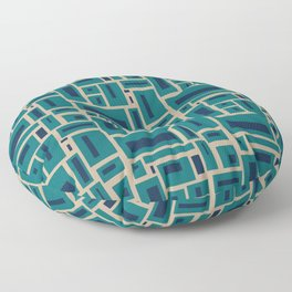 Geometric Rectangles in Navy, Teal and Tan 2 Floor Pillow