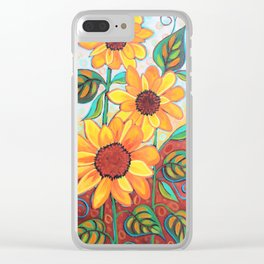 Three Sunflowers Clear iPhone Case