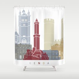 Genoa skyline poster Shower Curtain