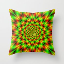 Rosette in Green and Red Throw Pillow