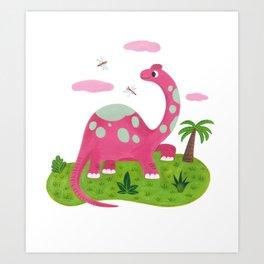 Pink diplodocus Art Print