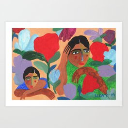 Hiding Under Flowers Art Print
