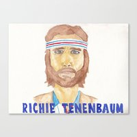 tenenbaum Canvas Prints featuring richie tenenbaum by steffaloo