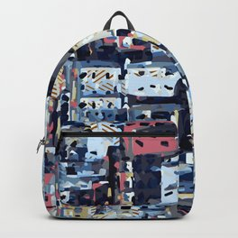 red yellow blue pink drawing and painting abstract background Backpack