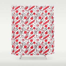 I Love Sports (red pattern) Shower Curtain
