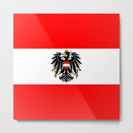 Austrian Flag and Coat of Arms Metal Print