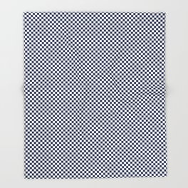 Dark Sargasso Blue and White Mini Check 2018 Color Trends Throw Blanket