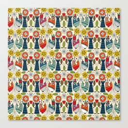 Swedish folksy cats and birds Canvas Print
