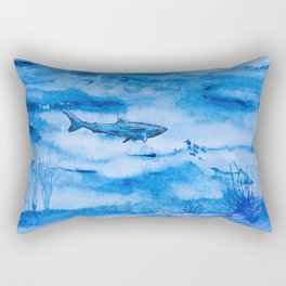 Great white in blue Rectangular Pillow