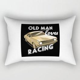 Old Man loves Drag Racing Rectangular Pillow