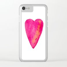 Pink Heart Full Of Love Watercolor Clear iPhone Case