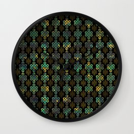 Endless Knot Pattern - Gold and Marble Wall Clock