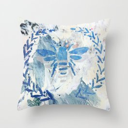 Honey Bee Wreath Blue Farmhouse Country Rustic Throw Pillow