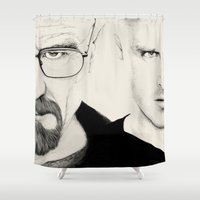 jesse pinkman Shower Curtains featuring breaking bad walter white jesse pinkman by poposter