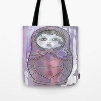 nan lawson Tote Bags featuring Nan the Nesting Doll by Pan Art