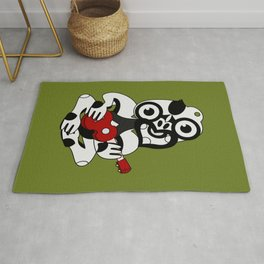 Black and Grey Hei Tiki playing a Ukulele Rug