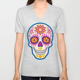 Sugar Skull Art (Inflorescent) Unisex V-Neck