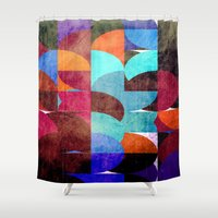 grafitti Shower Curtains featuring Retro colorful by LoRo  Art & Pictures