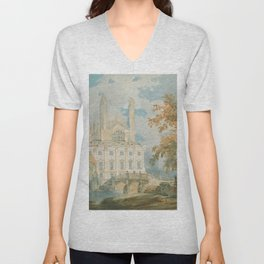 "J.M.W. Turner ""Clare Hall and King's College Chapel, Cambridge, from the Banks of the River Cam"" Unisex V-Neck"