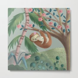 Adorable baby sloth and mommy Metal Print