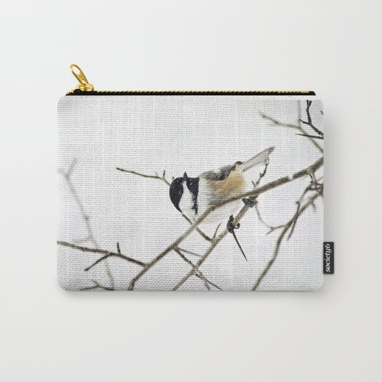 Snowy Chickadee Carry-All Pouch