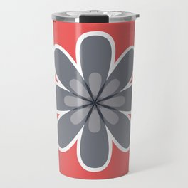 Symmetrical floral pattern, grey and coral red geometric flower Travel Mug