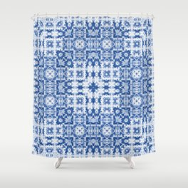 Aquatica Denim Blues Kaleid2 Shower Curtain