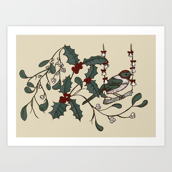 Christmas Bird Art Print
