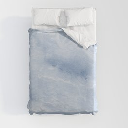 Yasuko - spilled ink japanese monoprint marble paper cell phone case with marble pattern blue pastel Duvet Cover