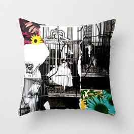 Dancing in a Cage With Lions Throw Pillow