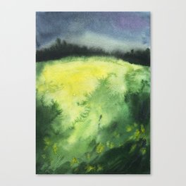 Watercolor landscape yellow field Canvas Print